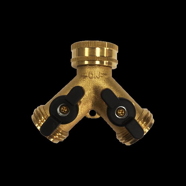 2-Way Brass Y Garden Hose Connector with Shut-Off Valve